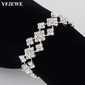 YFJEWE Top Crystal Wrap Bracelets for Women Silver Color Floral Girls Pulseras 2018 Bridal Wedding Jewelry Christmas Gift B179