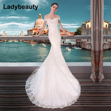 Load image into Gallery viewer, Ladybeauty New 2018 Sexy Mermaid Wedding Dresses Boat Neck Short Sleeve Lace Bride Dresses Wedding Gown