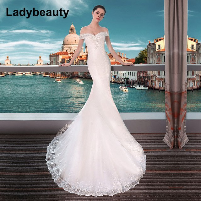 Ladybeauty New 2018 Sexy Mermaid Wedding Dresses Boat Neck Short Sleeve Lace Bride Dresses Wedding Gown