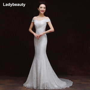 Ladybeauty 2018 Sexy New White Boat Neck Mermaid Wedding Gown Beading Wedding Dress