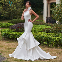 Load image into Gallery viewer, Dressv long mermaid wedding dress high neck sleeveless sweep train pick ups trumpet long bridal gown outdoor ivory wedding dress