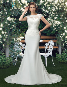 Dressv Charming Scoop Lace Wedding Dresses ivory lace appliques mermaid wedding dress trumpet chiffon outdoor bridal gown
