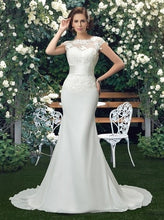 Load image into Gallery viewer, Dressv Charming Scoop Lace Wedding Dresses ivory lace appliques mermaid wedding dress trumpet chiffon outdoor bridal gown