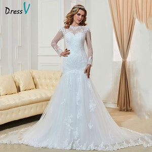 Dressv Fashionable Long Sleeves Mermaid Wedding Dresses Long Custom Made Lace High Neck Sheer Hollow Back Plus Size Bridal Gowns
