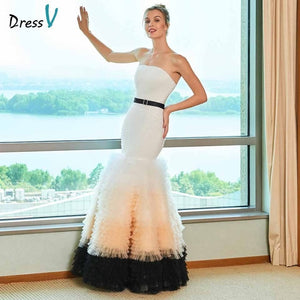 Dressv elegant mermaid wedding dress strapless sashes zipper up tulle floor length bridal outdoor&church wedding dresses