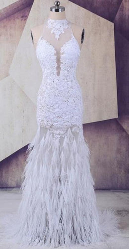 Ostrich Feather White Tulle Lace High Neck Prom Dress