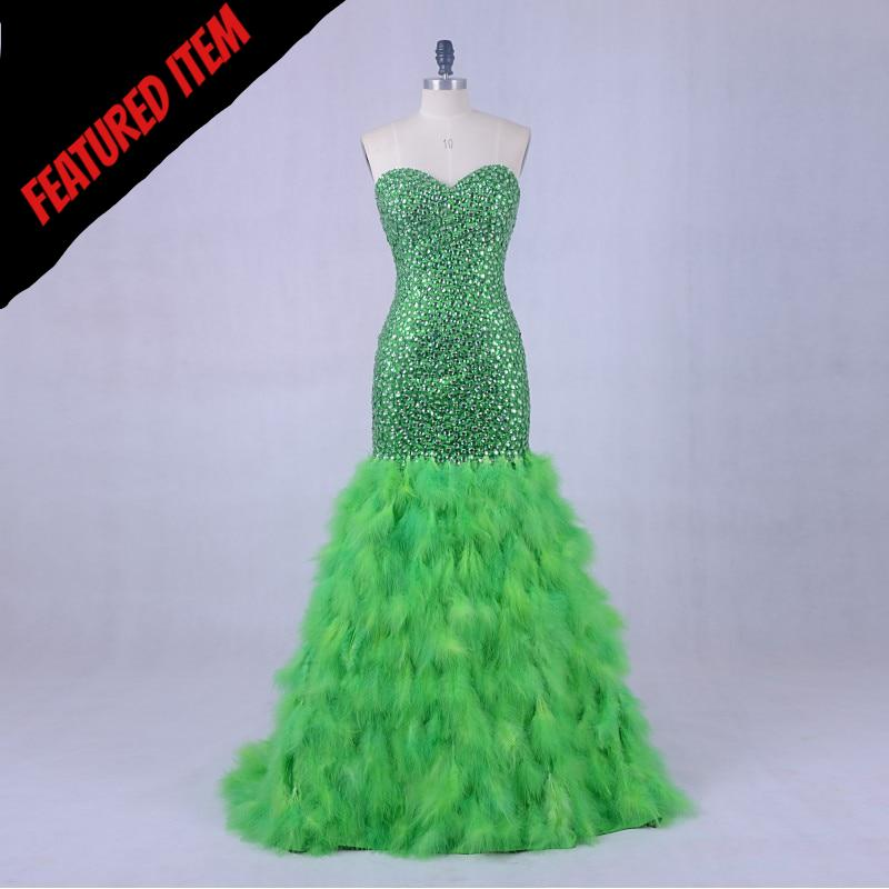 Luxury Evening Dress Gown 2018 LORIE Crystal Ostrich Feather Mermaid Prom Dress