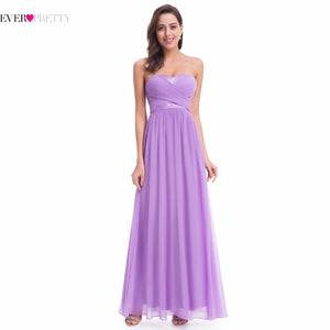 Ever Pretty Wedding Bridesmaid Dresses EP07057LV Long Chiffon Lavender Strapless Empire Dress 2018 bridemaid robes Under 50