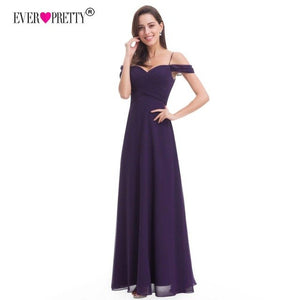 Ever Pretty Purple Chiffon Bridesmaid Dresses Elegant A Line Off Shoulder Wedding Party Gowns Vestido De Festa Longo EP07079DP