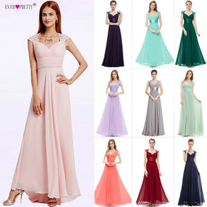Bridesmaid Dresses V-neck Sequins Chiffon Empire 2018 Ever Pretty EP09672 Mint Green Coral Burgundy Long Wedding Guest Dresses