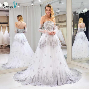 Dressv strapless wedding dress ball gown tiered appliques 3/4 sleeves floor length bridal outdoor&church wedding dresses