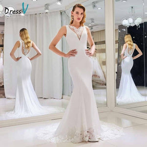 Dressv elegant v neck wedding dress mermaid appliques button lace floor length bridal trumpet outdoor&church wedding dresses