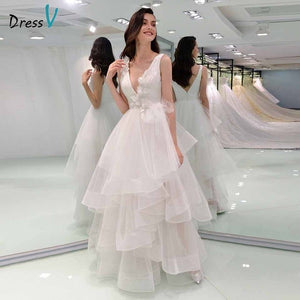 Dressv elegant ball gown wedding dress v neck appliques lace pleats sequins floor length bridal outdoor&church wedding dresses