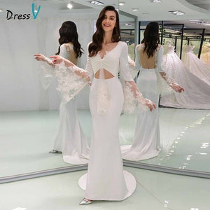 Dressv v neck elegant wedding dress long sleeves lace backless mermaid floor length bridal outdoor&church wedding dresses