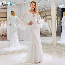 Load image into Gallery viewer, Dressv v neck wedding dress long sleeves mermaid lace zipper up court train floor length bridal outdoor&church wedding dresses