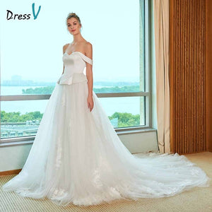 Dressv elegant off the shoulder wedding dress a line appliques sleeveless floor length bridal outdoor&church wedding dresses