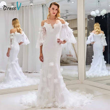 Load image into Gallery viewer, Dressv off the shoulder elegant wedding dress short sleeves mermaid zipper up floor length bridal outdoor&church wedding dresses