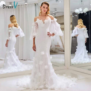 Dressv off the shoulder elegant wedding dress short sleeves mermaid zipper up floor length bridal outdoor&church wedding dresses