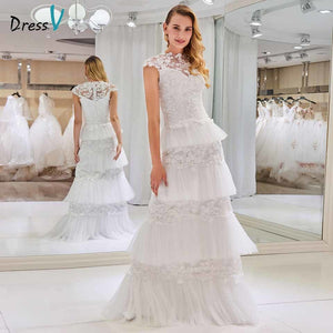Dressv high neck sheath elegant wedding dress lace sleeveless zipper up floor length bridal outdoor&church wedding dresses