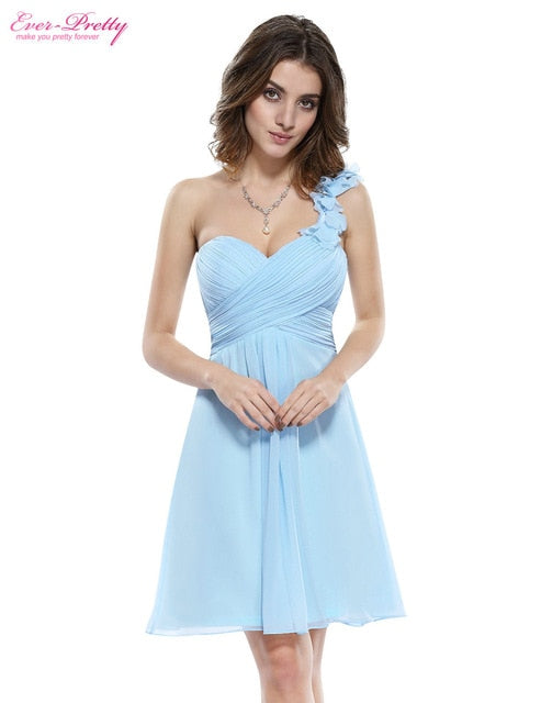 Bridesmaid Party Dresses One Shoulder Flowers Padded Ruffles Short  Wedding 2018 EP03535 Ever Pretty Bridesmaid Dresses