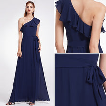Load image into Gallery viewer, Bridesmaid Dresses Ever Pretty 07211 Sexy One Shoulder A-line Ruffles Floor-Length Belt Gowns Beach Wedding Guest Dress