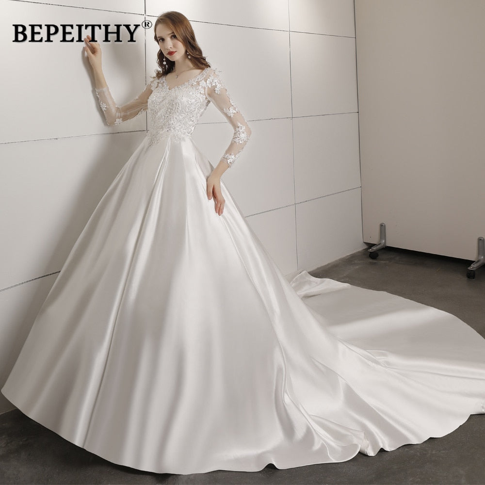 Robe De Mariee Ball Gown Wedding Dress With Full Sleeves Court Train Bridal Satin Lace Vintage Wedding Dresses 2018 Vestidos