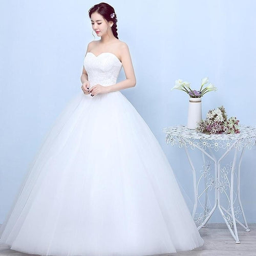 Fashion Women Ball Gown Bridal White Lace Applique Wedding Dresses