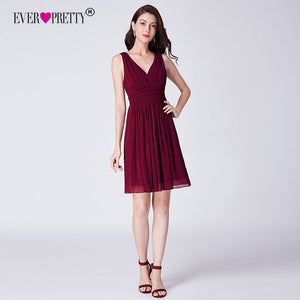 Burgundy Bridesmaid Dresses Ever Pretty EP03025 New Elegant A Line V Neck Sleeveless Short Chiffon Wedding Guest Party Gown 2018