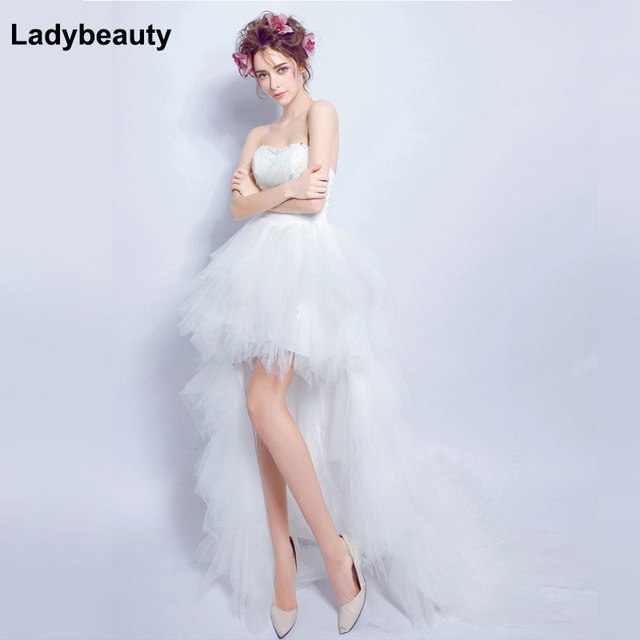 Ladybeauty 2018 Low price Princess Wedding Dress Pleat Beads High/Low Wedding Growns Short Train Formal Dress
