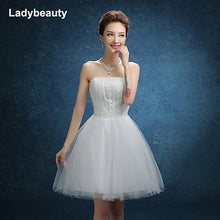 Load image into Gallery viewer, Ladybeauty 2018 New White Short Wedding Dresses The Brides BeadingWedding Dress Strapless Lacing Wedding Dress