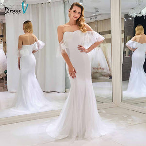 Dressv strapless elegant wedding dress short sleeves mermaid zipper up floor length bridal outdoor&church wedding dresses