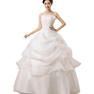 Wedding Dress Fashion Women White Luxury Lace Strapless Floor Length Dresses