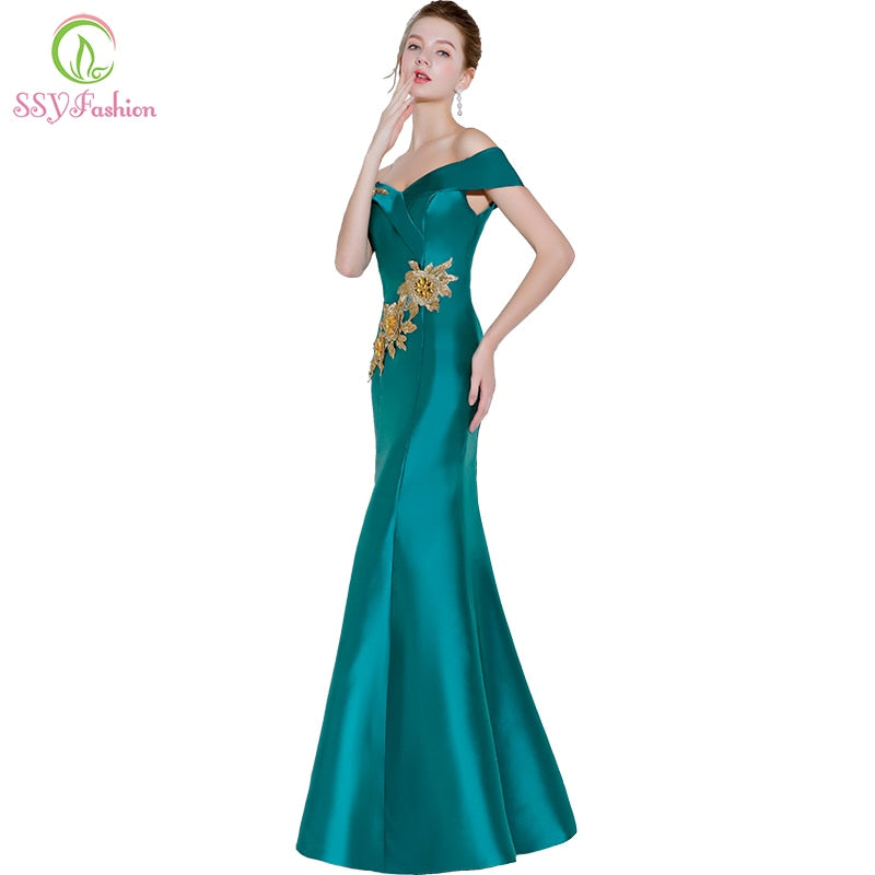 SSYFashion New Sexy Mermaid Evening Dress Green Satin Lace Appliques Fishtail Prom Party Gown Formal Dresses Robe De Soiree