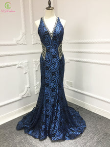 SSYFashion 2018 New Luxury Prom Dress Sexy V-neck Sweep Train Navy Blue Lace Sequined Beading Evening Party Gown Robe De Soiree