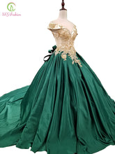 Load image into Gallery viewer, SSYFashion New High-end Evening Dress Luxury Green Satin with Lace Appliques Beading Court Train Prom Party Gown Formal Dresses