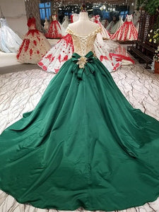 SSYFashion New High-end Evening Dress Luxury Green Satin with Lace Appliques Beading Court Train Prom Party Gown Formal Dresses