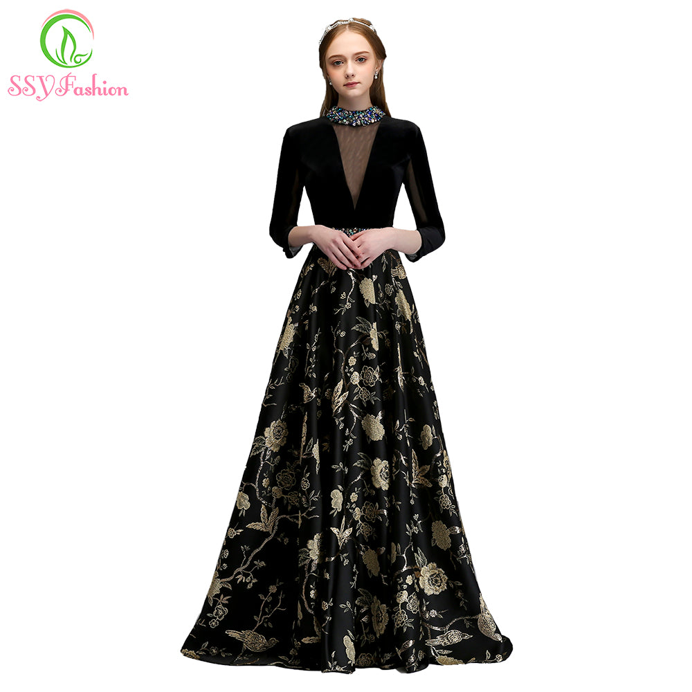 SSYFashion 2018 New High-end Evening Dress The Bride Vintage Black Long Sleeved Velour with Satin Luxury Prom Party Gown Custom