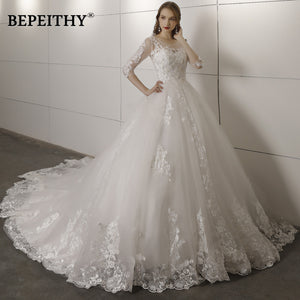 Vestido De Novia Three Quarter Sleeves Lace Wedding Dress 2018 Open Back Vintage Bridal Dresses Ball Gown Hot Sale