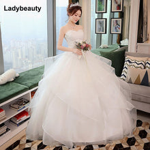 Load image into Gallery viewer, New Elegant Princess Wedding Dresses 2018 Sweet Ball Gown Lace Up Back Beads Tulle Floor-Length Bridal Gowns Vestido de noiva