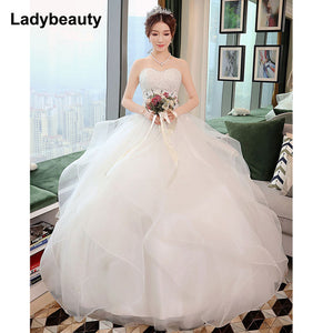 New Elegant Princess Wedding Dresses 2018 Sweet Ball Gown Lace Up Back Beads Tulle Floor-Length Bridal Gowns Vestido de noiva