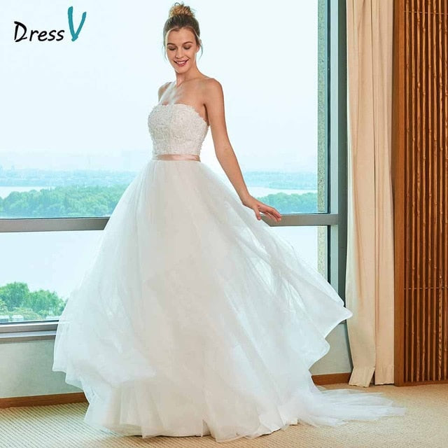 Dressv elegant ball gown wedding dress strapless sweep train appliques lace floor length bridal outdoor&church wedding dresses