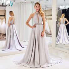 Load image into Gallery viewer, Dressv elegant a line wedding dress scoop neck beading court train zipper up floor length bridal outdoor&church wedding dresses