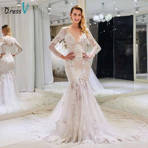 Dressv v neck wedding dress mermaid appliques long sleeves button lace floor length bridal outdoor&church wedding dresses