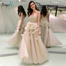 Load image into Gallery viewer, Dressv elegant ball gown wedding dress strapless appliques flower backless floor length bridal outdoor&church wedding dresses