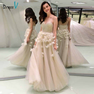 Dressv elegant ball gown wedding dress strapless appliques flower backless floor length bridal outdoor&church wedding dresses