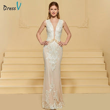 Load image into Gallery viewer, Dressv elegant sheath wedding dress v neck lace ruched sleeveless zipper up floor length bridal outdoor&church wedding dresses