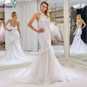 Dressv halter neck beading wedding dress sleeveless mermaid zipper up floor length bridal outdoor&church wedding dresses