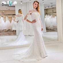 Load image into Gallery viewer, Dressv high neck wedding dress mermaid long sleeves appliques lace trumpet floor length bridal outdoor&church wedding dresses