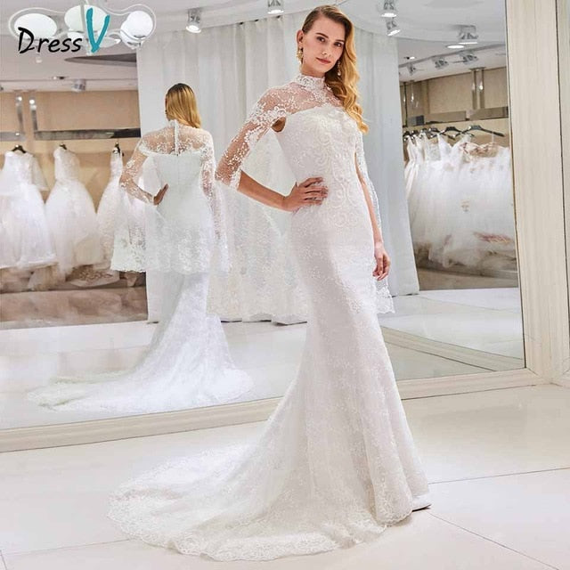 Dressv high neck wedding dress mermaid long sleeves appliques lace trumpet floor length bridal outdoor&church wedding dresses