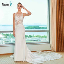 Load image into Gallery viewer, Dressv ivory elegant mermaid wedding dress scoop neck cathdarl lace floor length bridal outdoor&church wedding dresses